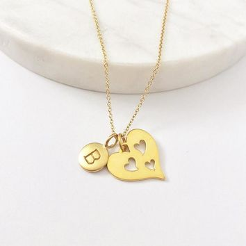 Gold Initial & 3 Heart Necklace