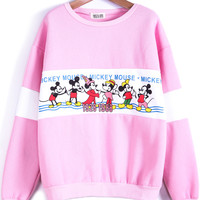 Pink Long Sleeve Mickey Print Loose Sweatshirt - Sheinside.com