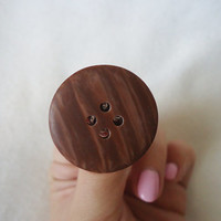 kawaii ring, button ring, wood ring, lolita rings, cute ring, vintage inspired ring, girly ring, kawaii jewelry, cute jewelry