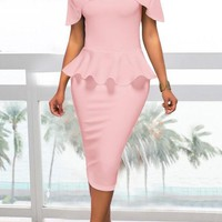 Pink Pleated Off Shoulder Peplum Bodycon Elegant Church Banquet Party Midi Dress