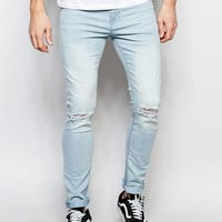 New Look Super Skinny Jean in Light Blue with Rips