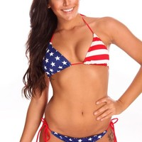 NEW 4TH OF JULY AMERICAN FLAG PATRIOTIC BIKINI SWIMSUIT ~ MADE IN U.S.A. #1613