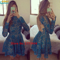 2016 Pretty Blue Short Mini Prom Dresses Long Sleeve Backless Lace Appliques Vestido De Festa Formal Party Gowns Custom Made