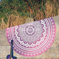 Indian purple & pink Ombre Round Mandala Beach Towel Beach Throw Roundie Yoga Mat Table Cloth Wall Tapestries