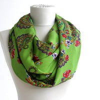 Infinity scarf green loop scarf paisley scarf floral  pattern pashmina scarf vegan soft avacado green scarf  women scarves for spring summer