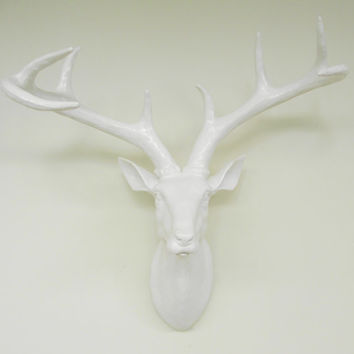 Deer Head White Deer Head Wedding Decor Faux by hodihomedecor