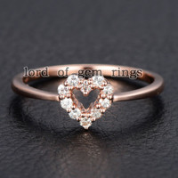 Round Moissanite Engagement Heart Shaped 14K Rose Gold 1.5mm