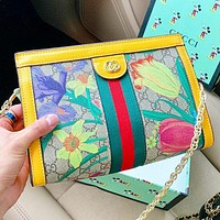GUCCI  New fashion floral more letter print leather chain shoulder bag crossbody bag Yellow
