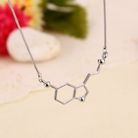 Happy Hormone Serotonin Molecule Necklace