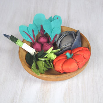 Textile and Felt Vegetables Colorful Veggies For Kids Pretend Food Play Set Grocery Kitchen Cabbage Pumpkin Leek Beets Beans