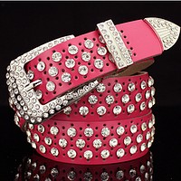 Women's trend diamond belt belt diamond drill wild belt