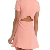 Coral Scalloped Open Back Skater Dress by Charlotte Russe