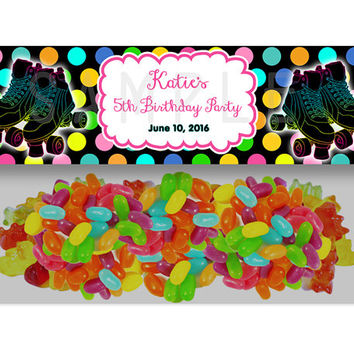 Roller Skating Birthday Party Bag Toppers - Skate Party Favor Goody Bags - Personalized Roller Skating Neon Birthday Girl Treats - Favor