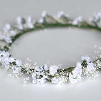 The Snow White: delicate white and baby's breath flower crown, baby, newborn, child, flower girl, bridesmaid, bride, bridal, boho