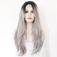 Synthetic Lace Front Wig sexy Black T Grey Hand Tied Glueless high density Heat Resistant fiber perruque front lace party wig