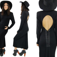 Vintage Black WITCHY Wool Cut Out Lace Up Long Maxi Dress High Collar GOTHIC Pleated / Medium