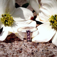 Alexandrite Ring, Sterling Silver Three-Stone Statement Ring, June Birthstone, Bridesmaids Gifts, Free Shipping