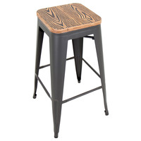 Oregon Industrial Look Pub Stool Medium Brown Top/Gray Finish
