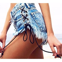 Hot Side Cross Lace Up Jeans