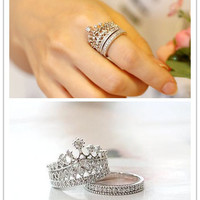 Crystal Imperial Crown Ring Set for Women