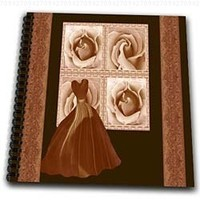 Jaclinart Dress Roses Flowers Nature Damask Ribbons - Cocoa brown design with elegant gown roses and damask ribbons on dark chocolate background - Drawing Book 8 x 8 inch (db_30184_1)