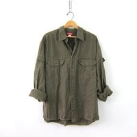 Vintage army green cotton shirt. Button down military style shirt. Mens army military shirt. size L