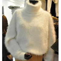 Winter Thick Warm Mink Cashmere Sweater Women Oversized Turtleneck Knitted Sweaters and Pullovers Loose White Fuzzy Sweater Coat
