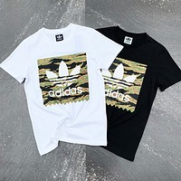 Adidas Fashion Men Women Casual Camouflage Print Short Sleeve T-Shirt Top