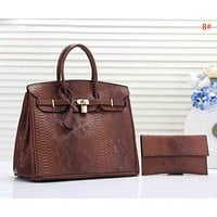 Hermes Women Fashion New Snake Texture Leather Personality Handbag Two Piece Bag