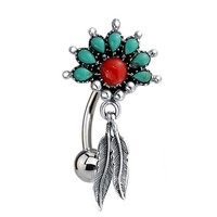 Belly Button Ring Reverse Tribal Dangle Red Green Stone Surgical Steel 14G Piercing Jewelry