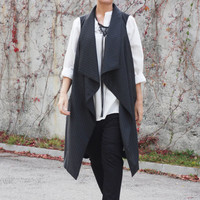Jacket vest, Long wool vest, Womens clothing, Asymmetric vest, Vest tops, Top, Black vest by CARAMELs T13316