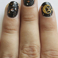 Full Moon & Star Gold Nail Charm