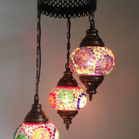 Colorful Lamp with 3 Hand made Mosaic Bulbs, Turkish lamp, Lantern lamp, Romantic lamp, Hanging Lamp, Chandelier Lamps, Pendat Lighting,