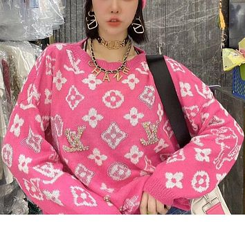 Louis Vuitton LV New letter embroidery women's heavy jacquard sweater