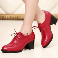 New arrival 2016 women's shoes fashion lacing shoes high-heeled shoes thick heel