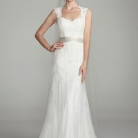 Petite Cap-sleeve Trumpet with Keyhole Back - David's Bridal
