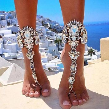 Boho Crystal Anklet Australia Beach Vacation Ankle Bracelet Sandals Sexy Leg Chain Female Statement Asteria Lyra Foot Jewelry