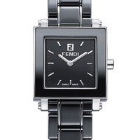 Women's Fendi Ceramic Square Case Watch, 25mm - Black