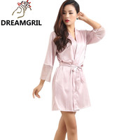 Lace Deep V Sleepwear Robes Faux Silk Sexy Female Nightgown