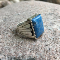 Vintage Denim Lapis Sterling Silver Cathedral Ring