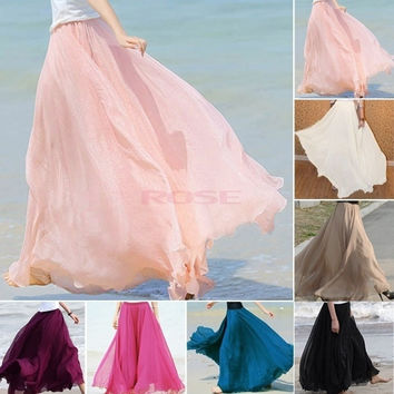 New Maxi Long Bohemian Restore Women Shinning Chiffon Long Skirt 7 Colors 14273 One Size = 1651270148