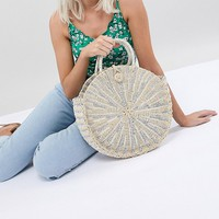 Vincent Pradier Structured Handle Straw Beach Bag at asos.com