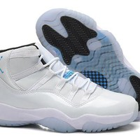 Hot Nike Air Jordan 11 High Women Shoes White Blue