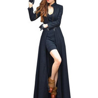 korean Fashion Fall Winter Women Maxi Coat Long Sleeve chaquetas mujer zipper Ladies Work Casual Wool Long Peacoat G06