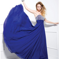 Royal Blue Sequin Sweetheart Strapless Long Dress 2015 Prom Dresses