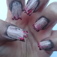Zombie Costume Halloween False Nails / Werewolf Women's Outfit / The Walking Dead Fake Nails / Blood and Dirt False Nails / Gruesome / Men