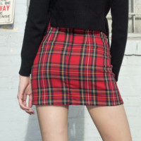 Sexy red plaid split skirt skirt [3881038119009]