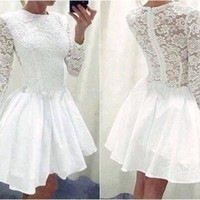 The Party Dress Black White Long Sleeve Lace Short Party Dresses For Women Back Embroidery A Line Vestido Elegant Cocktail Prom Homecoming Dresses Dr5460 Party Dress Store From Dennishawk, $21.99| Dhgate.Com