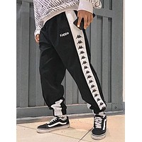 KAPPA Popular Women Classic String Mark Print Sport Stretch Pants Trousers Sweatpants Black