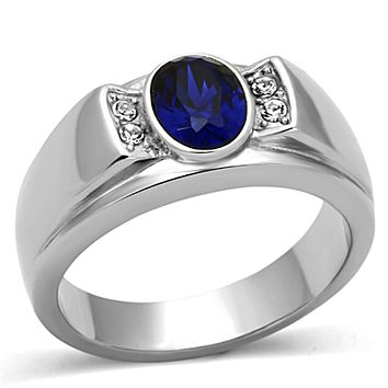Synthetic Blue Sapphire Stainless Steel Ring